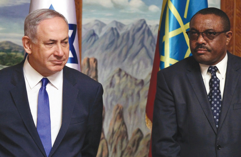 Prime Minister Benjamin Netanyahu and his Ethiopian counterpart Hailemariam Desalegn last year. 'One reason for Netanyahu's outreach to non-traditional allies such as China, India and countries in Africa is likely based on the realization that Israel should not, and does not have to, solely rely on  (photo credit: REUTERS)