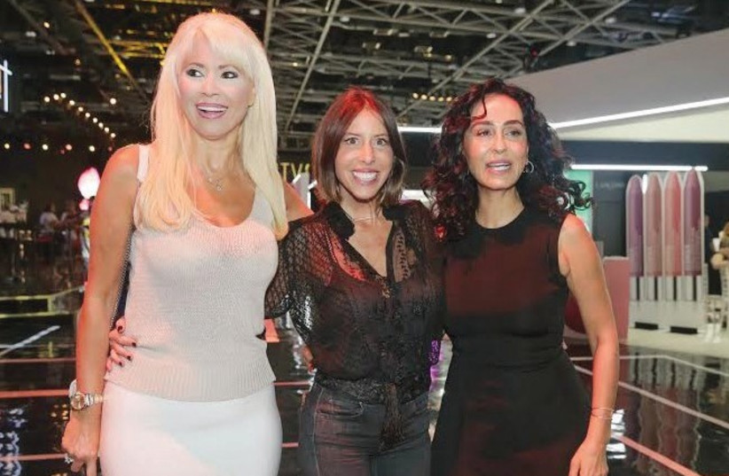 FROM LEFT: Cosmetics queen Pnina Rosenbloom, fashion designer Inbal Or and singer Rita photographed at Beauty City (photo credit: SHUKI COHEN)