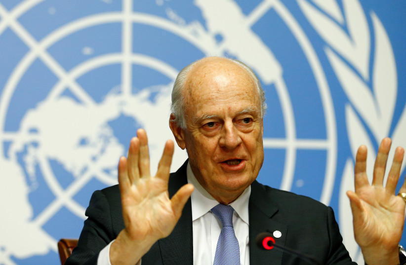 United Nations Special Envoy for Syria Staffan de Mistura attends a news conference during the Intra Syria talks at the UN offices in Geneva, Switzerland, (photo credit: REUTERS/PIERRE ALBOUY)