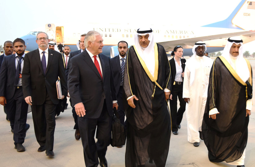 US Secretary of State Rex Tillerson is welcomed at the airport by Kuwait Minister of Foreign Affairs Sheikh Sabah al-Khalid al-Sabah in Kuwait City (photo credit: HANDOUT)