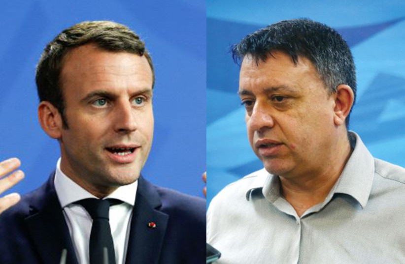 French President Emmanuel Macron and Labor party leader Avi Gabbay (photo credit: REUTERS/MARC ISRAEL SELLEM)