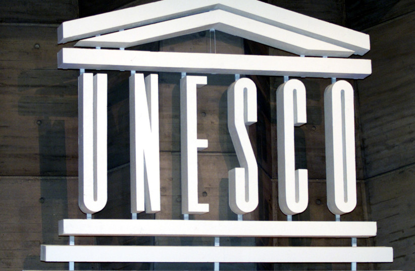 The logo of UNESCO is seen inside the headquarters in Paris (photo credit: MAL LANGSDON/REUTERS)