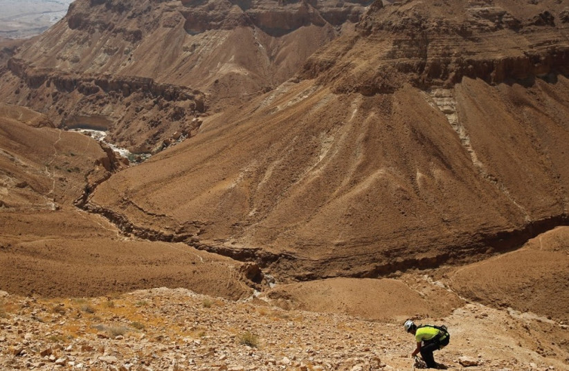 A MAN stands along a mountain range overlooking the Dead Sea. (photo credit: Courtesy)
