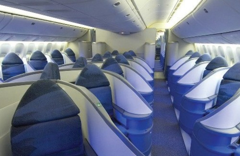 THE 292-SEAT Airbus A330-300 aircraft has state-of-the-art amenities, including a business class cabin featuring 27 executive pods with 180-degree, lie-flat seats. (photo credit: Courtesy)