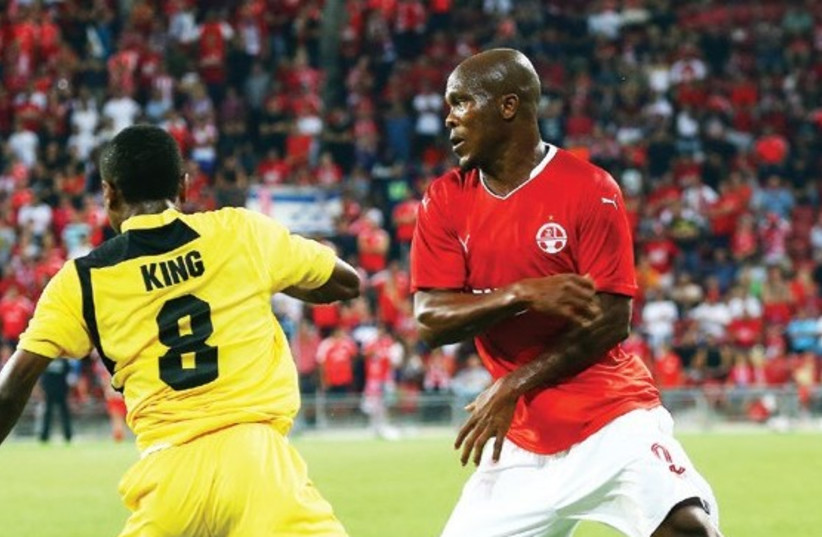 Anthony Nwakaeme (right) and Hapoel Beersheba were drawn to face either Zalgiris Vilnius of Lithuania or Ludogorets of Bulgaria in the Champions League third qualifying round, but will need to first overcome Honved in the second leg of the second qualifying round (photo credit: UDI ZITIAT)