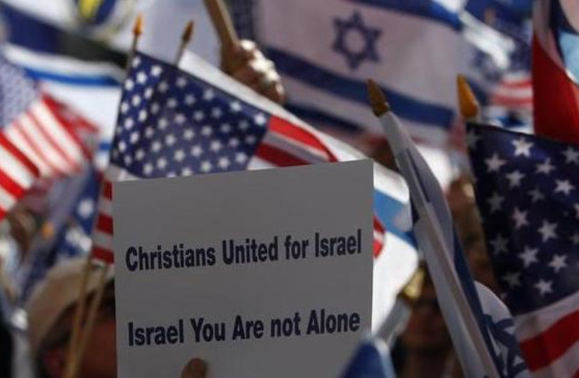 Members of Christians United for Israel march to show solidarity with Israel, in Jerusalem, in 2008. (photo credit: REUTERS)