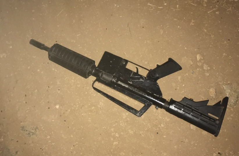Weapon used by Palestinian gunman in shootout with Israeli security forces (photo credit: ISRAEL POLICE)