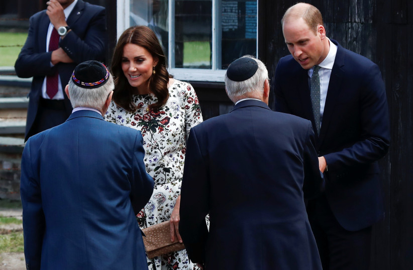Prince William, the Duke of Cambridge and Catherine, The Duchess of Cambridge meet with Holocaust survivors during their visit at the museum of former German Nazi concentration camp Stutthof in Sztutowo, Poland July 18, 2017. (photo credit: KACPER PEMPEL/REUTERS)