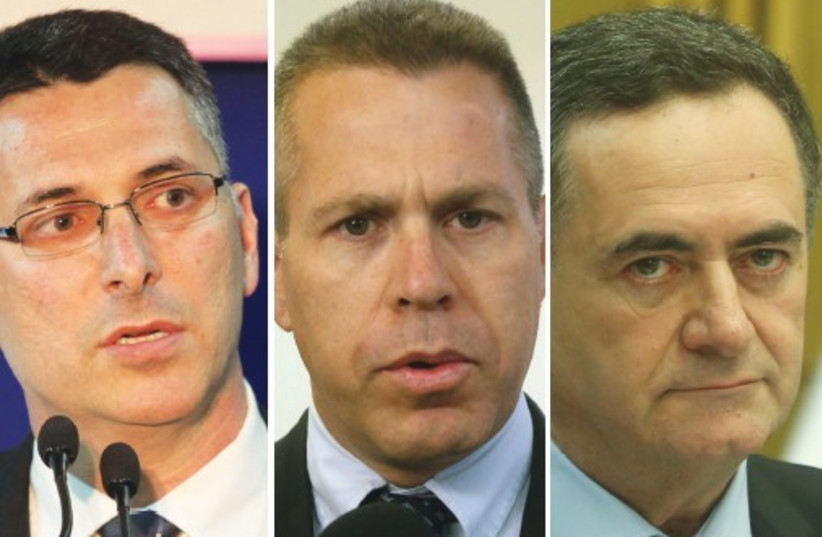 FORMER CABINET minister Gideon Sa'ar, on the left, Public Security Minister Gilad Erdan (center) and Transportation Minister Israel Katz are seen as leading contenders to succeed Netanyahu (photo credit: MARC ISRAEL SELLEM/THE JERUSALEM POST)