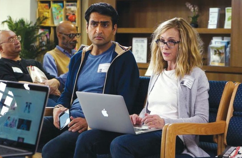 KUMAIL NANJIANI (left) and Holly Hunter in a scene from 'The Big Sick.' (photo credit: APATOW PRODUCTIONS)