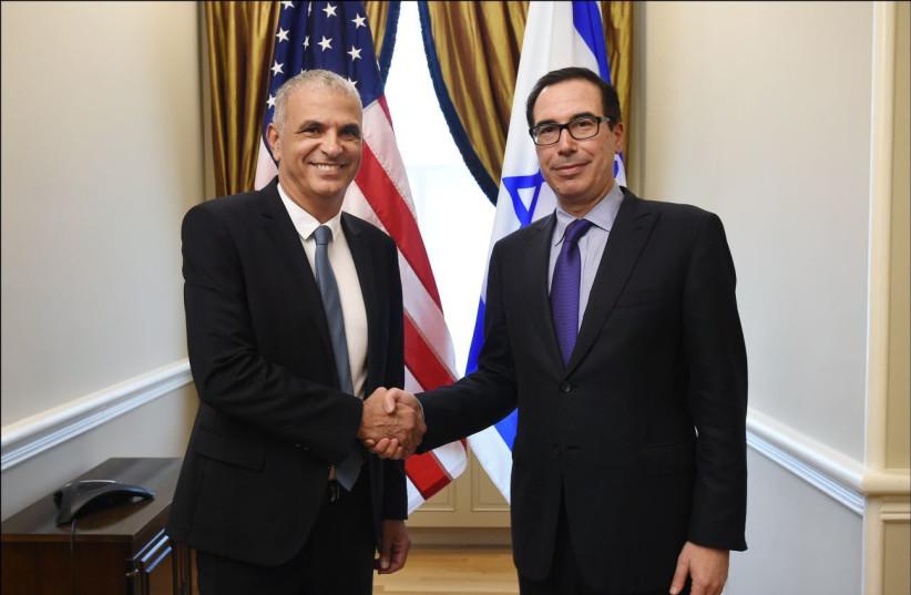 Finance Minister Moshe Kahlon and United States Treasury Secretary Steven Mnuchin, July 25, 2017. (photo credit: Courtesy)