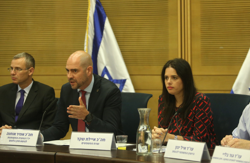 Special committee to pass the Basic Law: Israel, the Nation-State of the Jewish People committee chairman Amir Ohana (Likud) , Justice Minister Ayelet Shaked and Tourism Minister Yariv Levin (photo credit: MARC ISRAEL SELLEM/THE JERUSALEM POST)