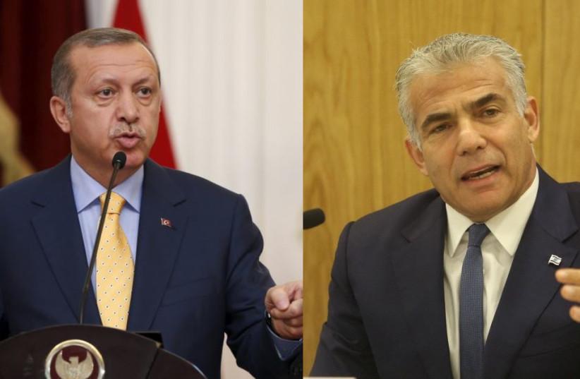Turkish President Recep Tayyip Erdogan and Yesh Atid leader Yair Lapid (photo credit: Courtesy)