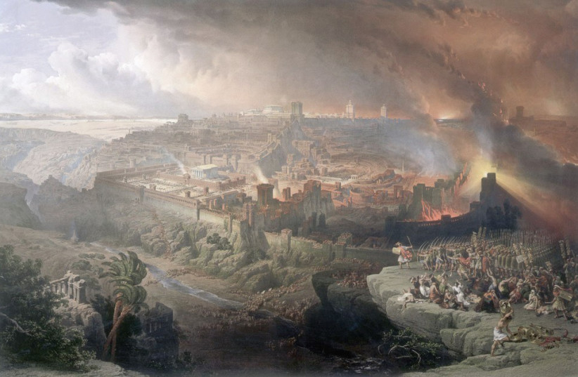 The Siege and Destruction of Jerusalem by David Roberts 1850 (photo credit: Wikimedia Commons)