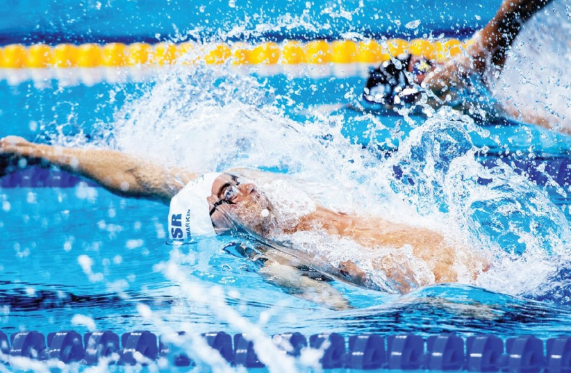 Israeli swimmer Yakov Toumarkin failed to progress to the semifinals of the 200-meter backstroke at the world championships in Budapest yesterday, finishing in 23rd place overall (photo credit: ASAF KLIGER)