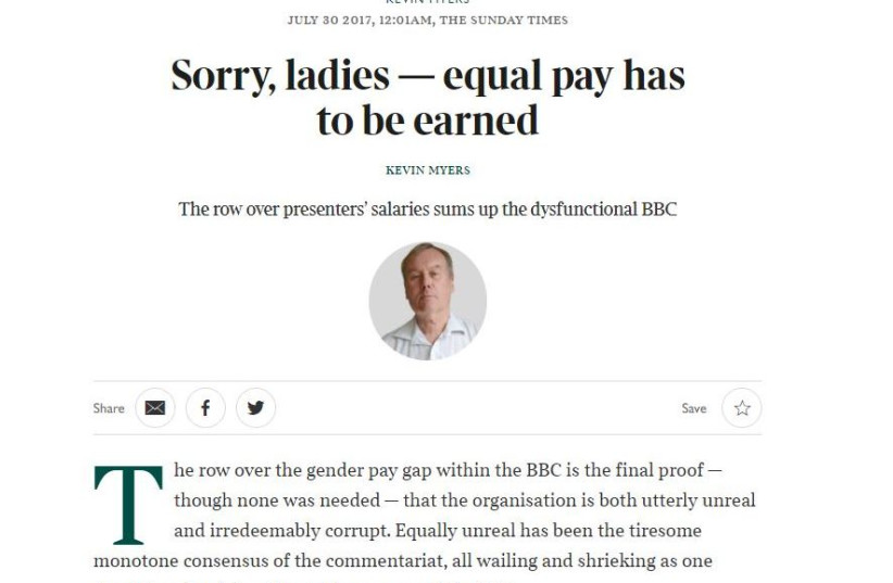 Kevin Myers article that got him ousted from The Sunday Times (photo credit: Courtesy)