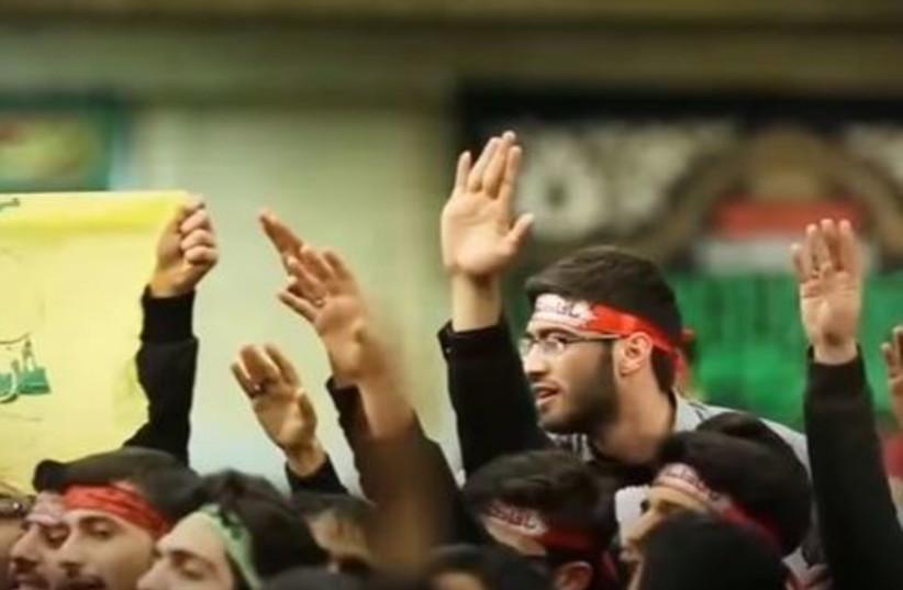 Hezbollah operatives swearing allegiance to Iran's Supreme Leader Ayatollah Ali Khamenei, July 2017. (photo credit: screenshot)
