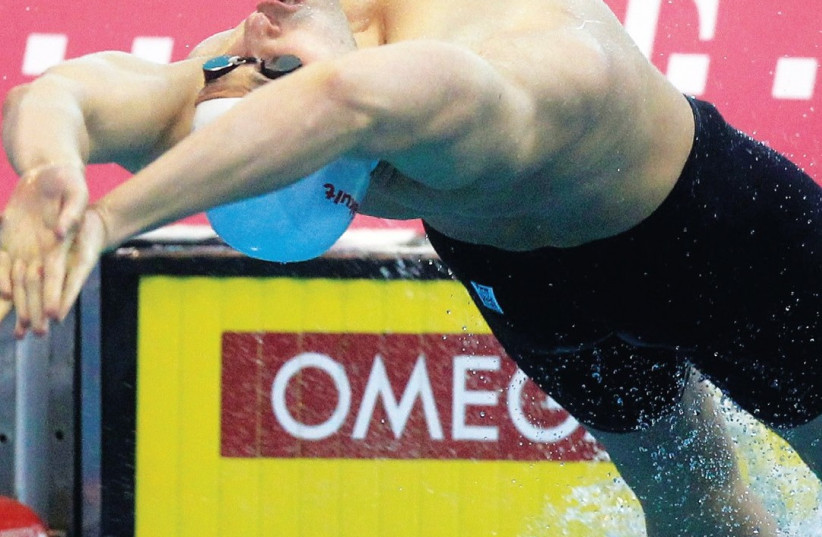 IsraelI SWIMMER Jonatan Kopelev finished eighth in yesterday's 50-meter backstroke final at the world championships in Budapest (photo credit: REUTERS)