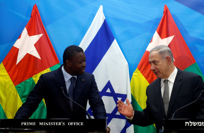 Israeli Prime Minister Benjamin Netanyahu (R) speaks with Togo's President Faure Gnassingbe during a joint statement in Jerusalem August 10, 2016.  (photo credit: REUTERS)