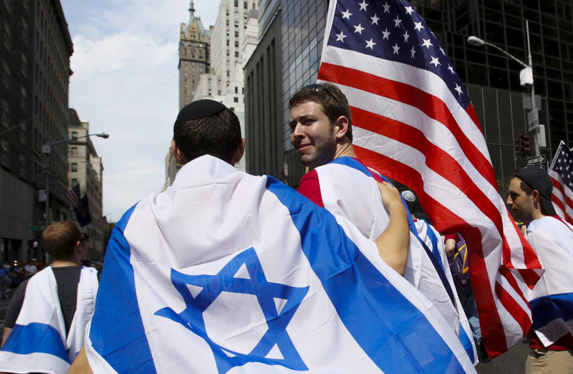 People take part in the 51st annual Israel parade in Manhattan, New York May 31, 2015. (photo credit: REUTERS)