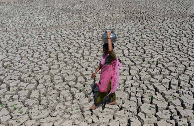 Indian woman carries water in a metal pot on her head (photo credit: SAM PANTHAKY / AFP)