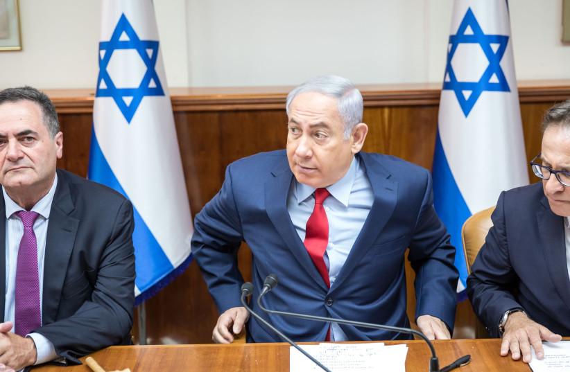Prime Minister Netanyahu, Tzachi Braverman, and Yisrael Katz at security cabinet meeting (photo credit: MARC ISRAEL SELLEM/THE JERUSALEM POST)