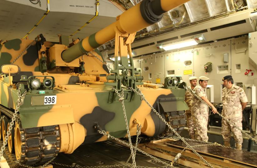 A tank arrives at the Turkish military base in Doha, Qatar (photo credit: QATAR NEWS AGENCY/HANDOUT VIA REUTERS)