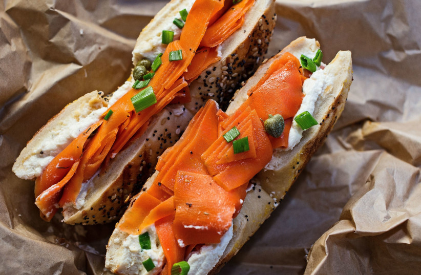 """Bagel and """"cream cheese and lox."""" (photo credit: KATIE B. FOSTER)"""