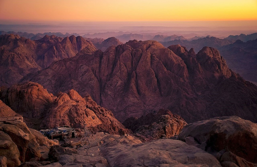 Mount Sinai, also known as Mount Moses or Jebl Musa. (photo credit: Wikimedia Commons)