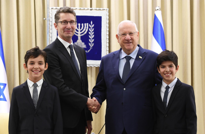 Australian ambassador Chris Cannan with his twin sons Nicholas and Alexander following the presentation of his credentials to President Reuven Rivlin (photo credit: Mark Neiman/GPO)