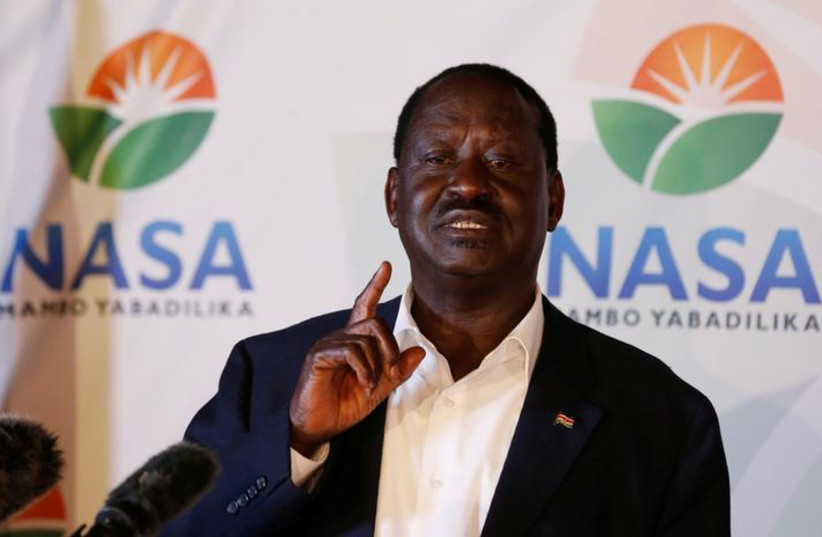 Kenyan opposition leader Raila Odinga, the presidential candidate of the National Super Alliance (NASA) coalition, address a news conference on the concluded presidential election in Nairobi, Kenya, August 9, 2017.  (photo credit: REUTERS)