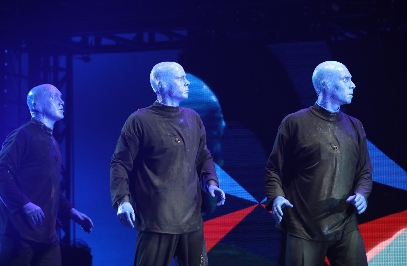 The Blue Man Group performs in Tel Aviv (photo credit: SIVAN FARAG)