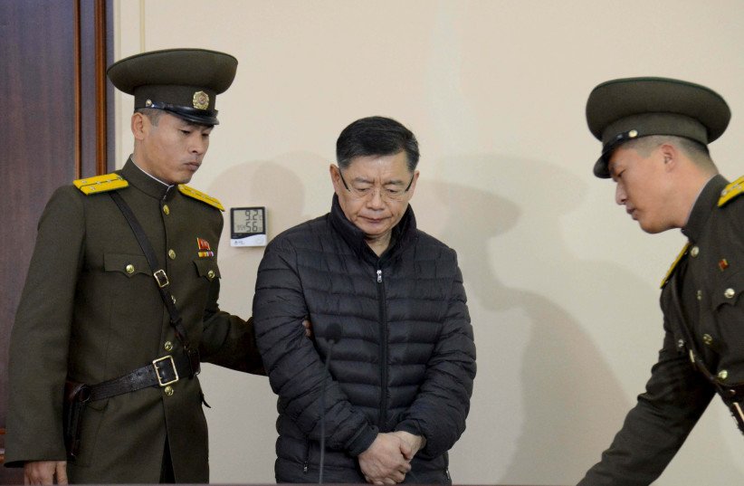 South Korea-born Canadian pastor Hyeon Soo Lim stands during his trial at a North Korean court (photo credit: KOREAN CENTRAL NEWS AGENCY / HANDOUT VIA REUTERS)