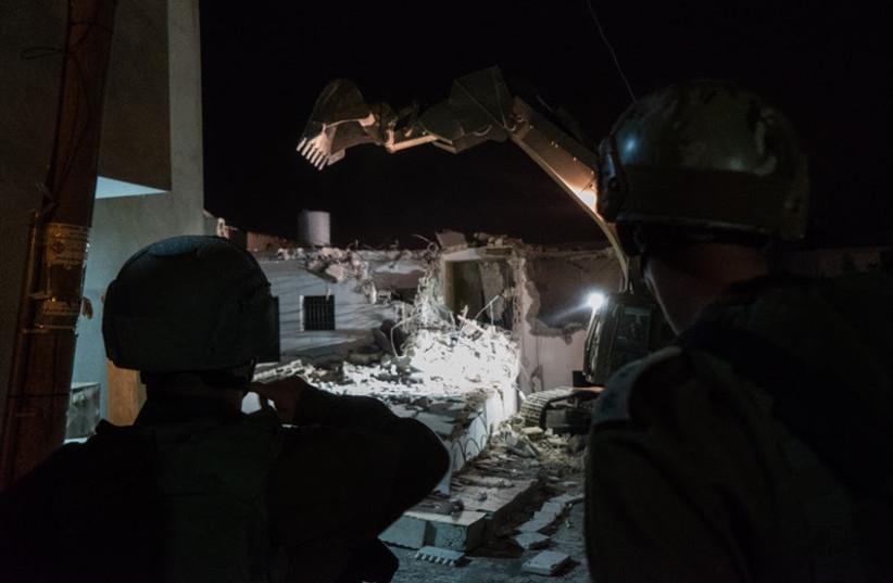 IDF demolition of terrorists' houses, August 9, 2017. (photo credit: IDF SPOKESPERSON'S UNIT)