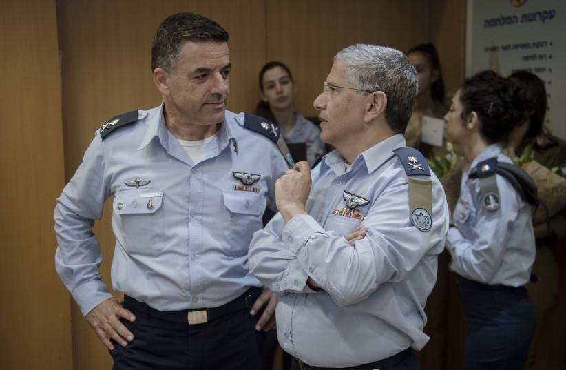 Maj. Gen. Amikam Norkin, current Air Force commander, and Maj. Gen. Amir Eshel, his predecessor (photo credit: IDF SPOKESPERSON'S UNIT)