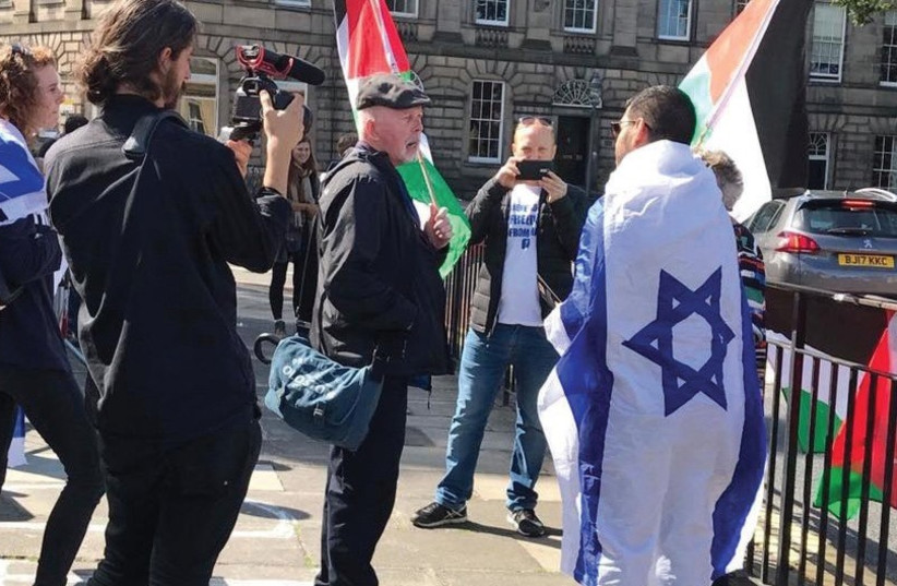 Pro-Israeli and Pro-Palestinian protestors at the Shalom Festival in Scotland (photo credit: RESERVISTS ON DUTY)