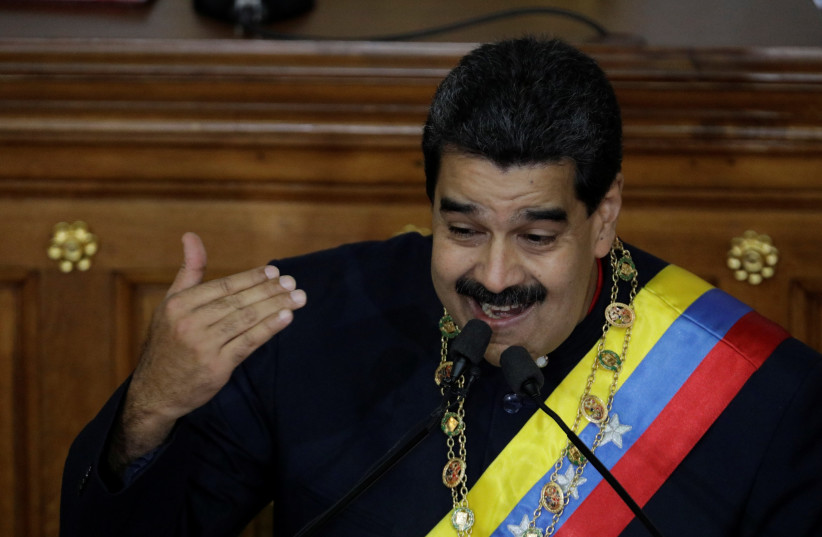 Venezuela's President Nicolas Maduro gestures as he speaks during a session of the National Constituent Assembly at Palacio Federal Legislativo in Caracas, Venezuela August 10, 2017 (photo credit: UESLEI MARCELINO/REUTERS)