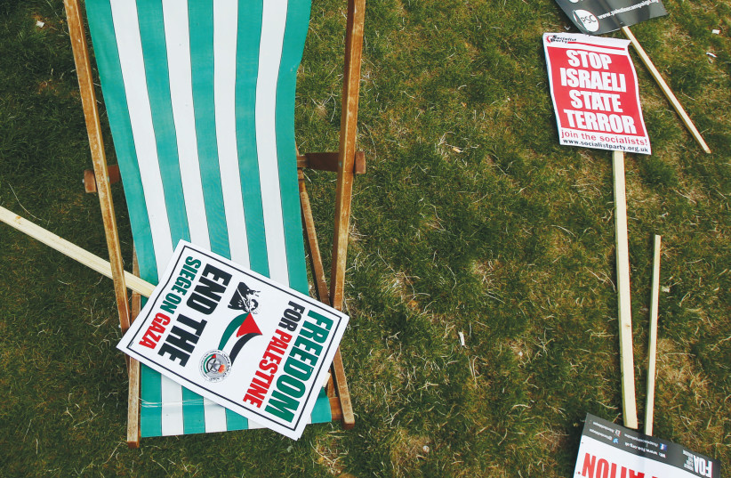 placards from an anti-Israel rally (Illustrative). (photo credit: REUTERS)