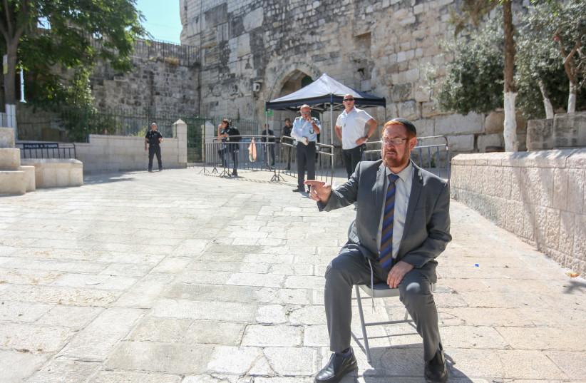 Yehuda Glick outside Temple Mount. (photo credit: MARC ISRAEL SELLEM/THE JERUSALEM POST)