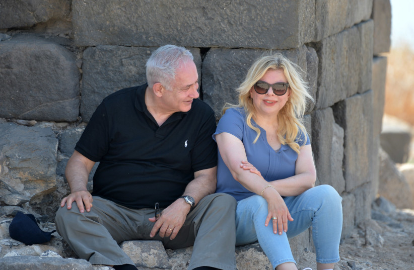 Prime Minister Benjamin Netanyahu and wife Sara Netanyahu at the archeological site Hippos in northern Israel, August 15, 2017. (photo credit: KOBI GIDEON/GPO)
