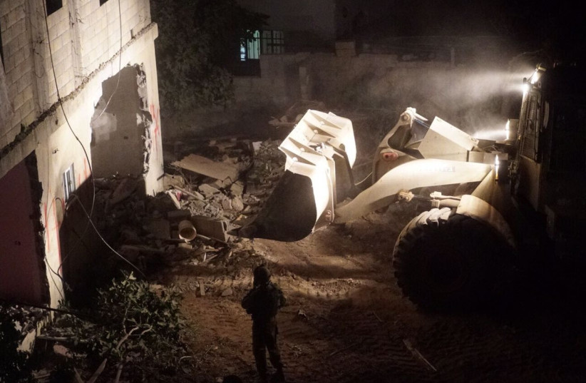 Demolition of al-Abed family home comes less than a month after deadly attack  (photo credit: COURTESY IDF SPOKESMAN'S OFFICE)