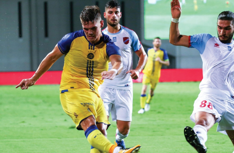 Maccabi Tel Aviv striker Vidar Orn Kjartansson has scored two goals in Europa League qualifying to date and warmed up for tonight's first leg of the playoffs against Altach in Austria by netting a hat-trick in last week's Toto Cup win over Maccabi Petah Tikva. (photo credit: DANNY MARON)