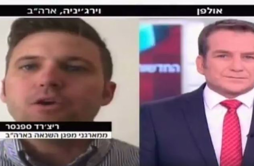 White nationalist leader Richard Spencer on Israel's Channel 2 (photo credit: CHANNEL 2)