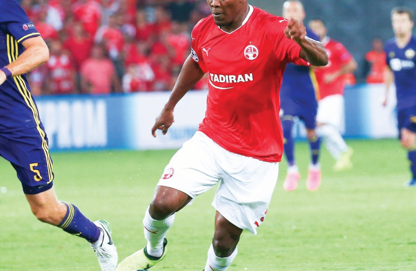 After netting a stunning volley in the first-leg 2-1 win over Maribor in the Champions League playoffs, Hapoel Beersheba forward Anthony Nwakaeme is one of the players coach Barak Bachar may choose to rest on Saturday when the defending champion begins its Premier League campaign against Maccabi Net (photo credit: DANNY MARON)