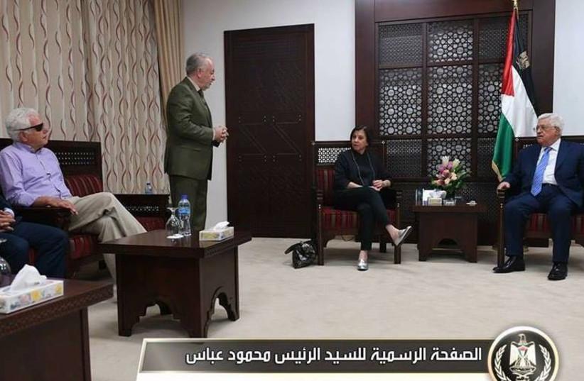 Palestinian Authority  President Mahmoud Abbas meets with Meretz MK Zehava Gal-On (photo credit: MAHMOUD ABBAS PRESS OFFICE)