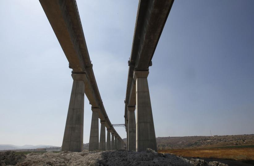 A bridge, part of Israel Railways' Jerusalem High Speed Link project, is seen near the Israeli town of Modiin July 7, 2012.  (photo credit: REUTERS/BAZ RATNER)