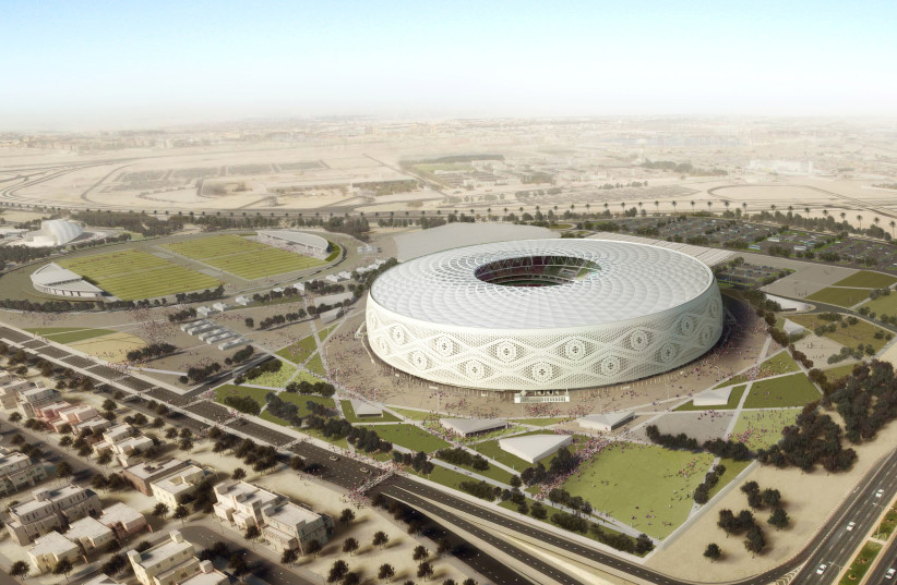 """Doha's Al Thumama stadium, designed by a Qatari architect in the shape of a traditional knitted """"gahfiya"""" Arabian cap, is seen in this undated artist illustration (photo credit: THE SUPREME COMMITTEE FOR DELIVERY & LEGACY/HANDOUT VIA REUTERS)"""