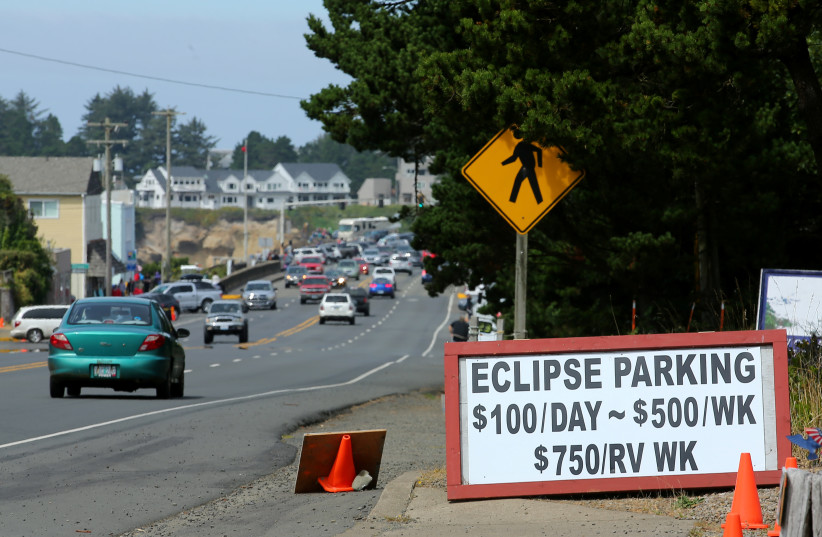 The small town of Depoe Bay, Oregon prepares for the coming Solar Eclipse (photo credit: REUTERS/MIKE BLAKE)