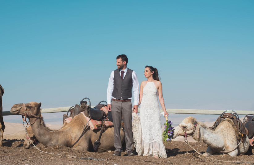 Shani and Ran Maaman enjoy the company of camels at their wedding in the Judean Desert, May 11, 2017. (photo credit: DANA BAR-ON PHOTOGRAPHY)