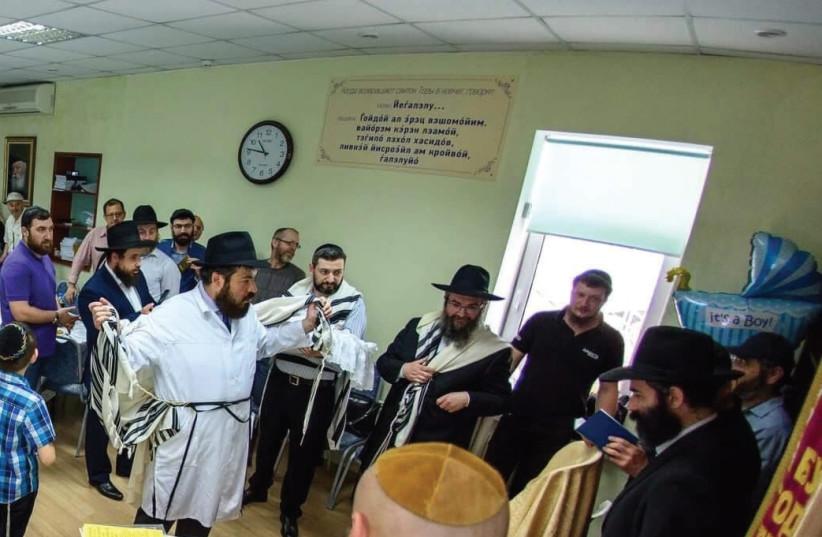 Rabbi Pinchas Vishedsky at the Jewish Community Center for Refugees in Kiev. (photo credit: RABBI VISHEDSKY)
